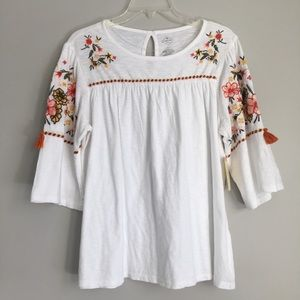 Floral Embroidered Boho Peasant Blouse